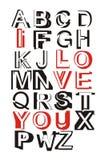 Ti amo fonte tipografica Fotografia Stock