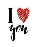 Ti amo I cuore voi iscrizione disegnata a mano dell'iscrizione isolata su fondo bianco Immagini Stock