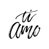 Ti amo I love you vector text calligraphy. I love you italian text calligraphy vector lettering for Valentine card stock illustration