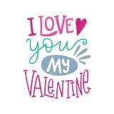 Ti amo il mio biglietto di S. Valentino Cuori Giorno del `s del biglietto di S Iscrizione disegnata a mano virgoletta royalty illustrazione gratis