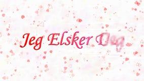 Ti amo il testo nel grado di Jeg Elsker del norvegese si gira verso polvere dalla destra su fondo bianco Fotografie Stock Libere da Diritti