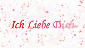Ti amo il testo in tedesco Ich Liebe Dich si gira verso polvere dalla destra su fondo bianco Immagini Stock