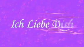 Ti amo il testo in tedesco Ich Liebe Dich si gira verso polvere dalla destra su fondo porpora Fotografia Stock Libera da Diritti
