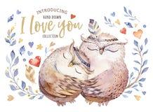 Ti amo Illustrazione adorabile dell'acquerello con i gufi, i cuori ed i fiori dolci nei colori impressionanti Romantico sbalordit Fotografia Stock