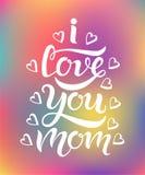 Ti amo iscrizione di tipografia della mamma Fotografia Stock