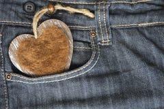Ti amo, jeans e cuore Fotografia Stock