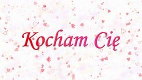 Ti amo mandi un sms a in Kocham polacco Cie formato da polvere e dai giri per spolverare orizzontalmente su fondo bianco royalty illustrazione gratis