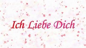 Ti amo mandi un sms a in tedesco Ich Liebe Dich formato da polvere e dai giri per spolverare orizzontalmente su fondo bianco royalty illustrazione gratis