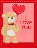 Ti amo manifesto Teddy Cute Bear Animal adorabile Fotografia Stock Libera da Diritti