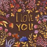Ti amo mazzo floreale dell'acquerello illustrazione di stock