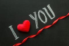 Ti amo Messaggio scritto a mano su una lavagna Immagini Stock