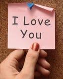 Ti amo mostra del messaggio Romance Fotografia Stock