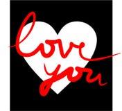 Ti amo nel bianco, nel nero e nel colore rosso Immagini Stock Libere da Diritti