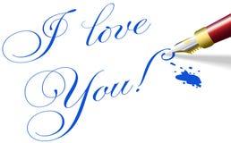Ti amo parole romantiche della penna del biglietto di S. Valentino Immagini Stock Libere da Diritti