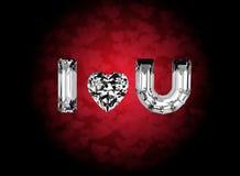 Ti amo Pietra preziosa di forma del cuore Collezioni di gemme dei monili royalty illustrazione gratis