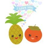 Ti amo progettazione di carta con l'ananas ed il cachi di Kawaii con le guance e gli occhi rosa sbattere le palpebre, colori past Fotografie Stock Libere da Diritti
