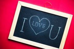 Ti amo scritto a mano sulla lavagna Immagine Stock Libera da Diritti