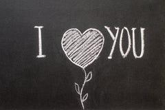 Ti amo scritto sulla lavagna Fotografia Stock