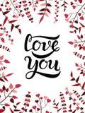 Ti amo segnare manifesto con lettere Immagini Stock
