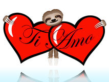 Ti amo with the sloth Royalty Free Stock Image