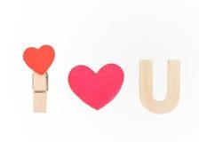 Ti amo speel con cuore di legno Fotografie Stock