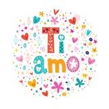 Ti amo te amo en la mano italiana que pone letras a diseño romántico Fotografía de archivo