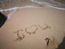 Ti amo un messaggio sulla spiaggia sabbiosa per le coppie adorabili fotografie stock libere da diritti