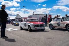 TI de Romeo Giulia d'alpha superbe dans le salon automobile montjuic de circuit de Barcelone d'esprit image libre de droits