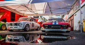 TI de Romeo Giulia d'alpha superbe dans le salon automobile montjuic de circuit de Barcelone d'esprit images libres de droits