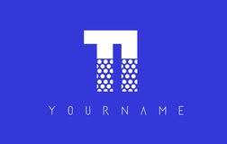 TI T I Dotted Letter Logo Design with Blue Background. Royalty Free Stock Photography