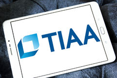 Tiaa organization logo. Logo of tiaa organization on samsung tablet. tiaa is financial services organization that is the leading retirement provider for people Stock Images