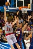 Tiago Splitter plays against F.C Barcelona basketball team Stock Image
