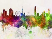 Tiajin-Skyline im Aquarell Lizenzfreies Stockfoto