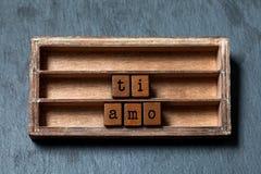 Tiamo Ich liebe dich geschrieben in italienische Übersetzung Weinlesekasten, hölzerne Würfelphrase mit im altem Stil Buchstaben G lizenzfreie stockbilder