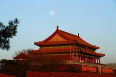 Tian-An-Men. In Beijing with moon in the sky Stock Photos