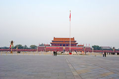 Tian an men with red fag Royalty Free Stock Images