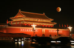 Tian-An-Men Square and moon eclipse Stock Photography