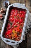 Tian, peperoni di verdure e melanzana al forno con olio d'oliva ed aglio Cucina francese Fotografia Stock Libera da Diritti