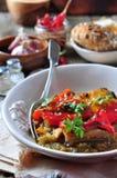 Tian, peperoni di verdure e melanzana al forno con olio d'oliva ed aglio Cucina francese Immagine Stock Libera da Diritti