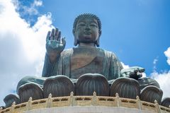 Tian Tan Buddha, Big Budda, The enormous Tian Tan Buddha at Po Lin Monastery in Hong Kong. The world`s tallest outdoor seated bronze Buddha located in Ngong stock photography