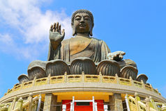 Tian tan buddha, hong kong. The huge bronze statue of tian tan buddha in sitting position at lantau, hong kong Stock Photography