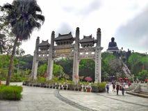 Tian Tan Buddha på Ngong Ping Village arkivbilder