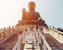 Tian Tan Buddha in sunligh in Hong Kong Royalty Free Stock Photo