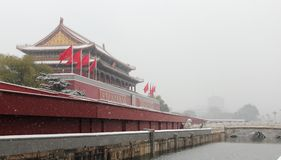 The Tianan gate of the forbidden city in snow Royalty Free Stock Photography