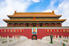 The Tiananmen in Beijing city, China. Beijing, China - April 12, 2017: The Tiananmen is a famous monument in Beijing, the capital of China royalty free stock image