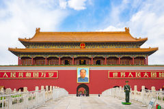 The Tiananmen in Beijing city, China. Beijing, China - April 12, 2017: The Tiananmen is a famous monument in Beijing, the capital of China royalty free stock photo