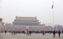 Tiananmen brama na mgławym dniu Obrazy Royalty Free