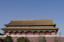 Tiananmen of de Poort van Hemelse Vrede, zijn een beroemd monument in Peking, de hoofdstad van China Stock Foto's