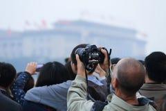 Tiananmen flag raising Royalty Free Stock Images