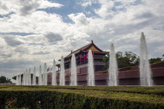 Tiananmen with fountains Stock Images